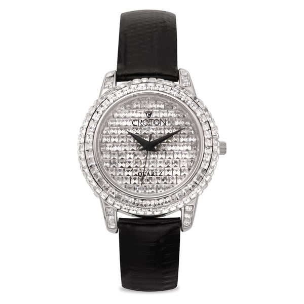 Ladies Silvertone Square Stone Crystal Quartz Watch with Black Strap