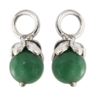 Sterling Silver 'Budding Chance' Aventurine Earring Charms (Indonesia)