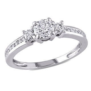 Miadora Signature Collection 14k White Gold 4/5ct TDW 3-stone Diamond Engagement Ring (G-H, I1-I2)