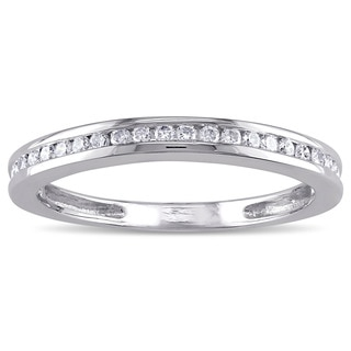 Miadora 14k White Gold 1/5ct TDW Diamond Wedding Band (G-H, I1-I2)