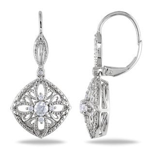 Miadora Signature Collection 10k White Gold 1/10ct TDW Diamond and White Sapphire Dangle Earrings (G-H, I2-I3)