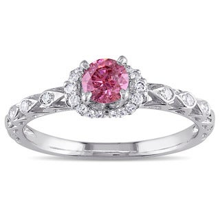 Miadora Signature Collection 18k White Gold 2/5ct TDW Pink and White Diamond Engagement Ring