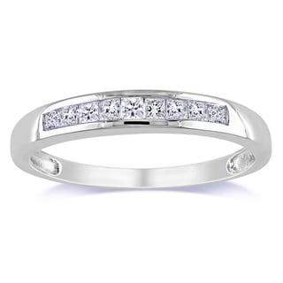 Miadora 10k White Gold 1/4ct TDW Princess-cut Diamond Anniversary band (G-H, I2-I3)