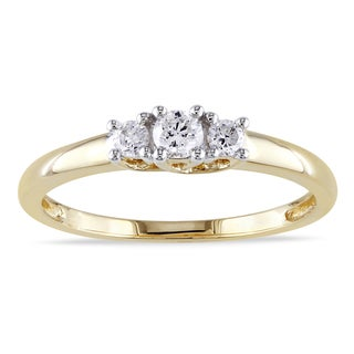 Miadora 14k Yellow Gold 1/4ct TDW Certified Diamond 3-stone Engagement Ring (G-H, I1-I2) (IGL)