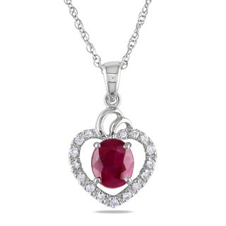 Miadora 14k White Gold Ruby and 1/10ct TDW Diamond Heart Necklace (H-I, I1-I2)