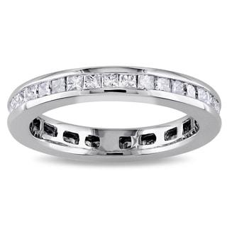 14k White Gold 1ct TDW Princess-cut Diamond Eternity Ring (G-H, I1-I2) by Miadora Signature Collection