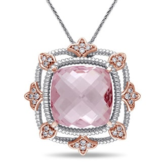 Miadora Signature Collection 14k White Gold Morganite and 1/4ct TDW Diamond Drop Necklace (G-H, SI1-SI2)