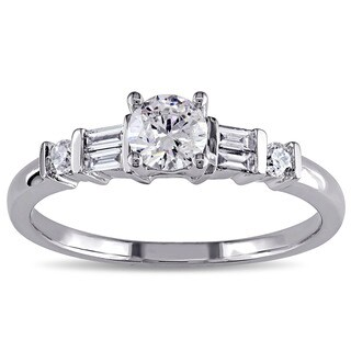Miadora 14k White Gold 1/2ct TDW Diamond Engagement Ring (G-H, I2--I3)