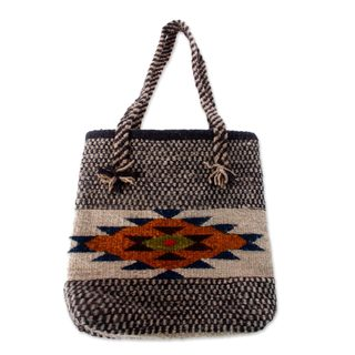 Handcrafted Wool 'Zapotec Sunshine' Tote Bag (Mexico)