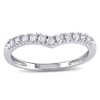 Miadora 10k White Gold 1/6ct TDW Diamond Contour Stackable Anniversary-style Wedding Band (G-H, I2-I3)