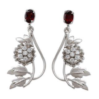 Sterling Silver 'Morning Blossom' Garnet Zirconium Earrings (India)