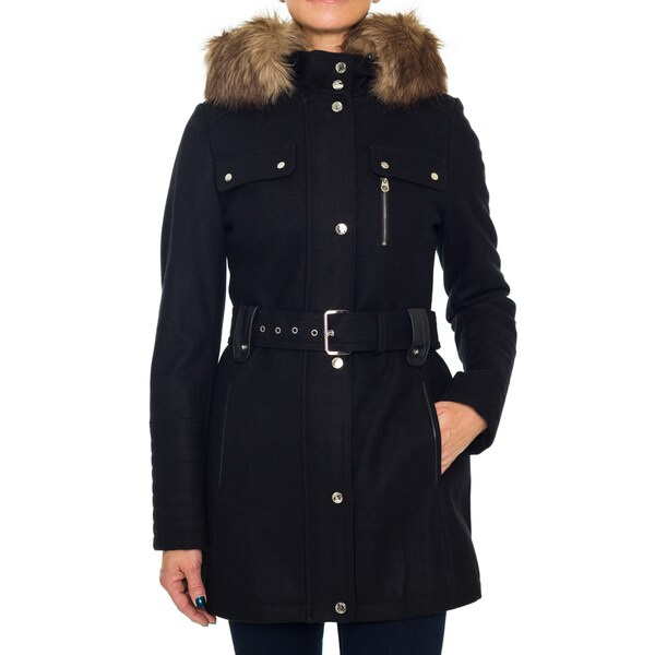 Laundry By Design Belted Wool Coat with Faux Fur