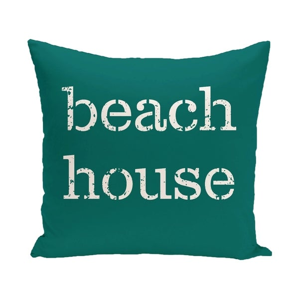 Beach House Word Print 14 x 20-inch Outdoor Pillow