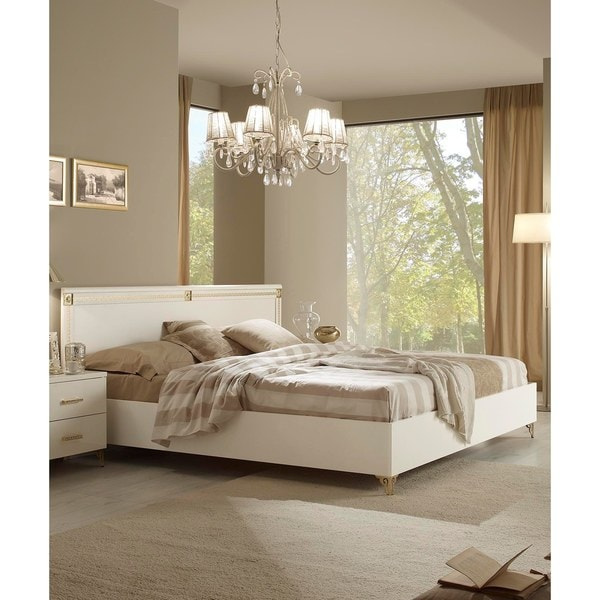 Luca Home Victorian White Bed