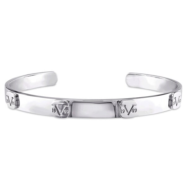 Versace 19.69 Abbigliamento Sportivo Sterling Silver Raised Logo Bangle Bracelet