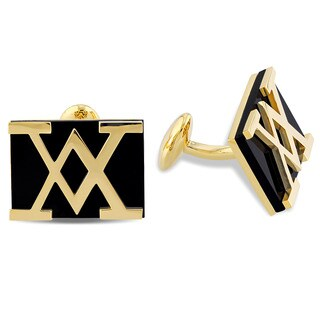 Versace 19.69 Abbigliamento Sportivo SRL 18k Yellow Gold Plated Sterling Silver Black Onyx Cufflinks