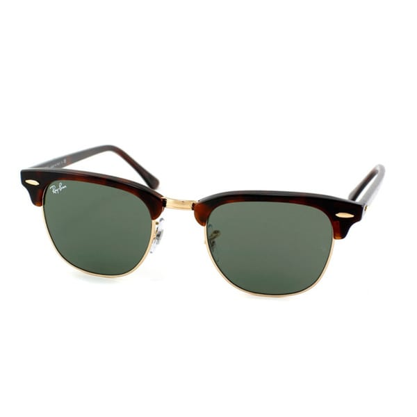 Ray-Ban RB 3016 Clubmaster W0366 Unisex 49MM Sunglasses, Tortoise/Gold (Green Lens)