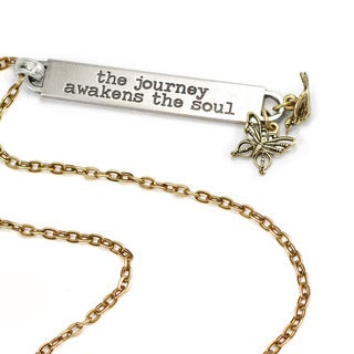 Sweet Romance The Journey Awakens the Soul Inspirational Message Bar Necklace