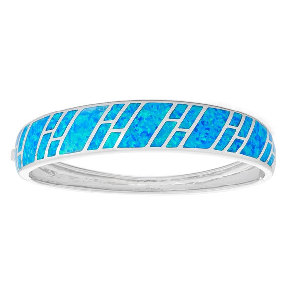 La Preciosa Sterling Silver Blue Opal Striped Cuff Heavy Bangle
