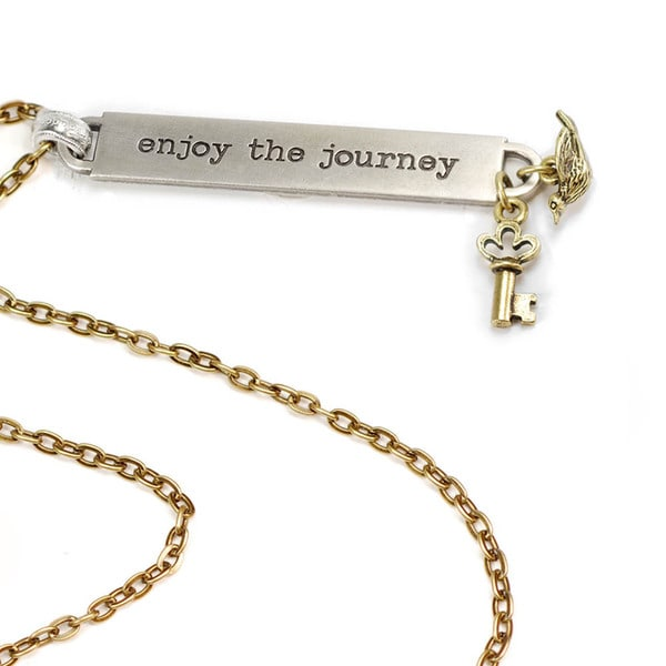 Sweet Romance Enjoy the Journey Inspirational Message Bar Necklace
