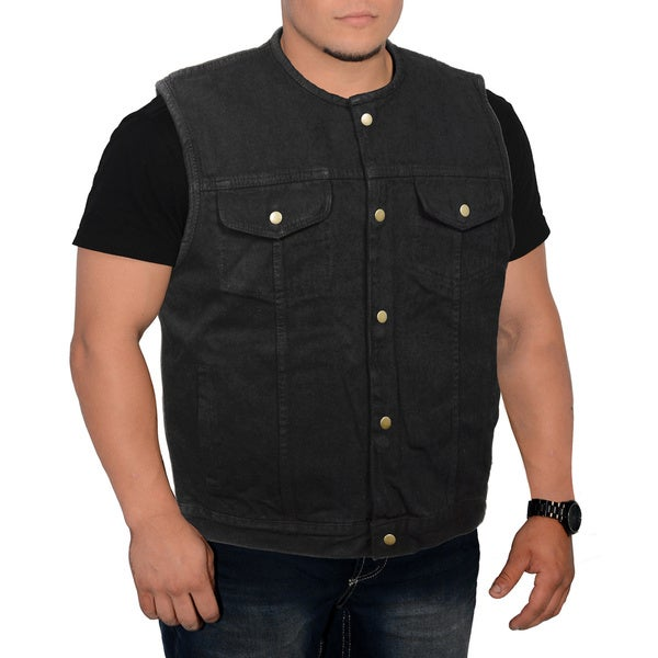 Men's Collarless Denim Vest