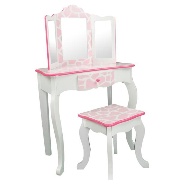 Teamson Kids -Fashion Prints Vanity & Stool Set with Mirror - Giraffe (Baby Pink / White)
