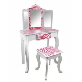 Teamson Kids - Zebra Vanity Table & Stool Set