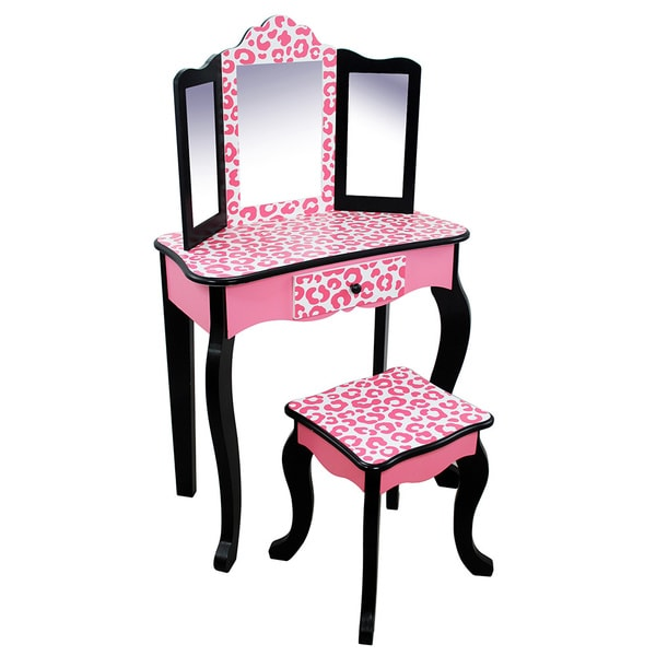 Teamson Kids Leopard Vanity Table Amp Stool Set 17824783 Overstock Com Shopping Big