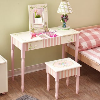 Fantasy Fields - Bouquet Vanity Table & Stool Set, White/ Pink