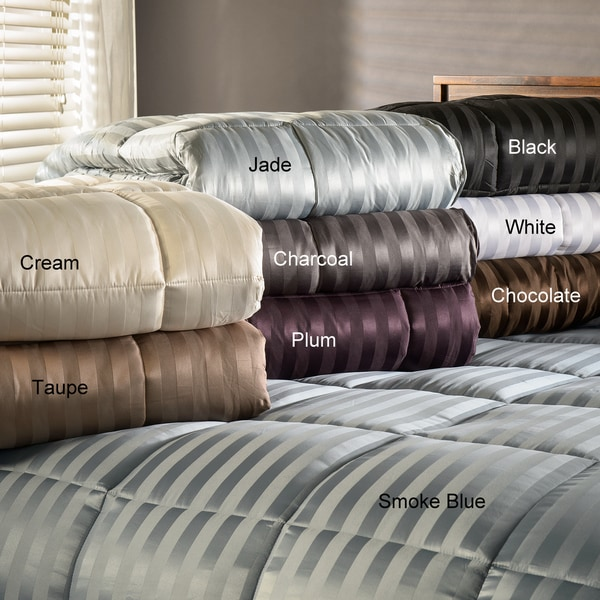 Grand Down All-Season Luxurious Striped Down Alternative Comforter Size King in Plum (As Is Item)