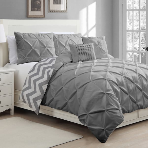 Ella Reversible 5-piece Full/ Queen Duvet Cover Set in Taupe (As Is Item)
