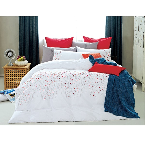Egyptian Cotton Red Petals Queen 7-piece Duvet Cover Set (As Is Item)