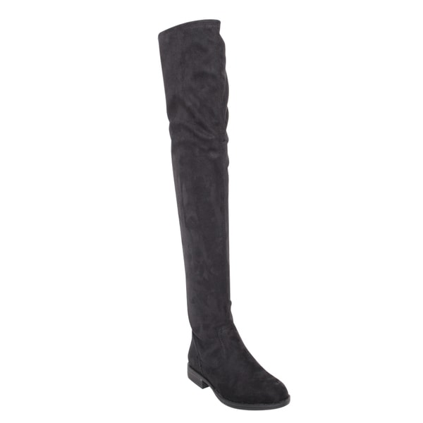 Bamboo Montana-53 Women's Stretch Side Zipper Snug Fit Thigh High Riding Boots in Black Size 7.5 (As Is Item)