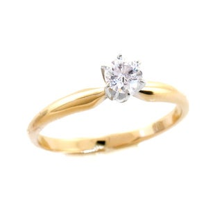 14k Yellow Gold 1/5ct TDW Diamond Solitaire Engagement Ring