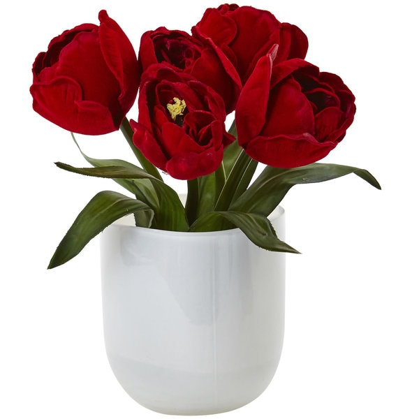 Tulips with White Glass Vase