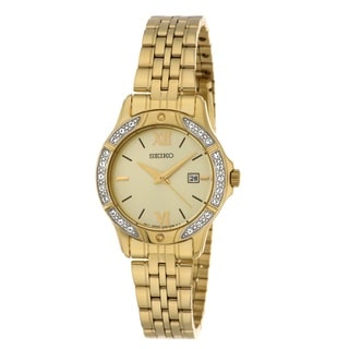 Seiko Women's Gold-tone Swarovski Date Watch SUR860