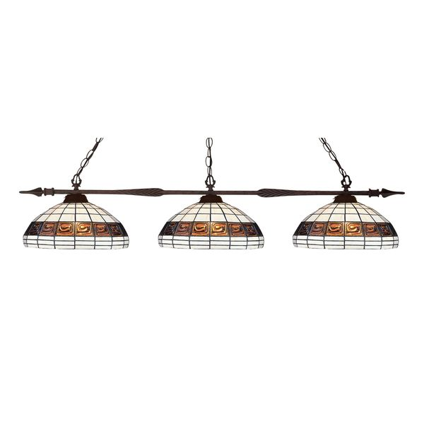 Z-Lite Bronze Finish with Multi-Coloured Tiffany Shade - Metal 3-light Island/Billiard Light