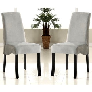 Bass Grey Upholstered Flared Back Parson Dining Chairs (Set of 2)