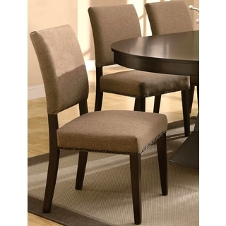 Terra Contemporary Upholstered Dining Chairs with Naihead Trim (Set of 2)