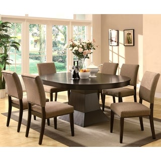 Terra Contemporary Architectural Inspired Espresso Dining Set with Naihead Trim