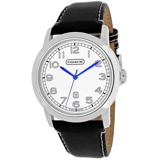 Coach Men's 14600899 Bleecker Round Black Leather Strap Watch