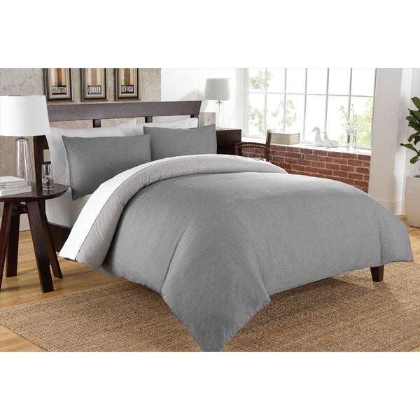 200 Thread Count Authentic Chambray Oxford Stripe Design Duvet Cover Set