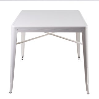 'Tansy' White Square Modern Steel Side Table