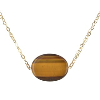 Ashanti Oval Tiger's Eye Gemstone 14 Karat Gold Filled Handcrafted Necklace