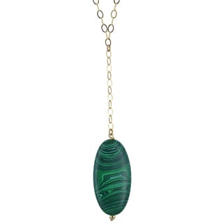Yellow Gold-Filled Sterling Silver Malachite Gemstone Handcrafted Necklace by Ashanti