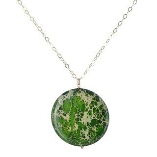 Ashanti Green Jasper 90 Carat Round Gemstone 14K GF Handcrafted Necklace