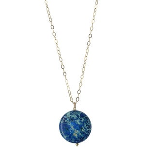 Ashanti Blue Jasper Gemstone 14 Karat Gold Filled Handcrafted Necklace