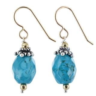 Ashanti Turquoise Gemstone 14K GF Sterling Silver Handmade Earrings