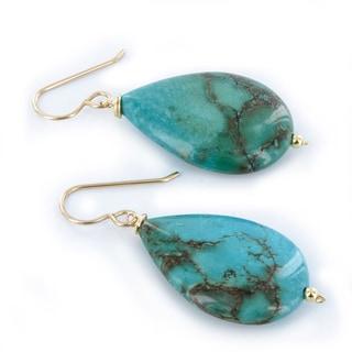 Ashanti Turquoise Gemstone 14K GF Handmade Earrings