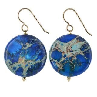 Ashanti Ocean Jasper Gemstone 14K GF Handmade Earrings